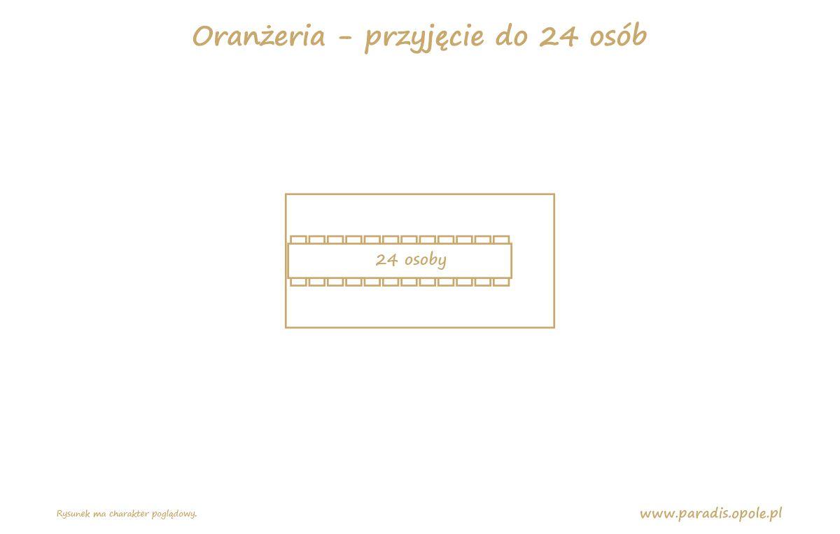 Oranżeria przyjęcie układ dla 24 osoby